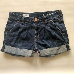 GAP 1969 Denim Jeans Shorts Rolled Cuffs Pleated